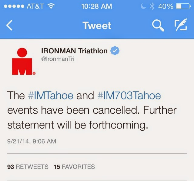 Ironman Lake Tahoe 2014 Cancelled